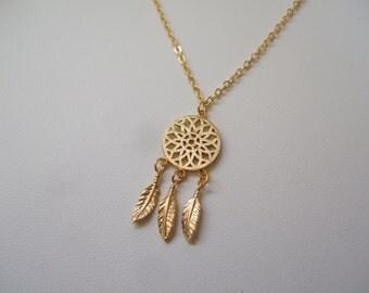 Pendant dreamcatcher/catcher-dreams. Plate 16 K gold necklace. String 58 cm. Minimalist design for everyday wear