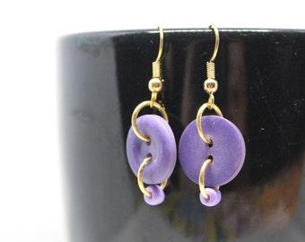 Purple Button Dangle Earrings