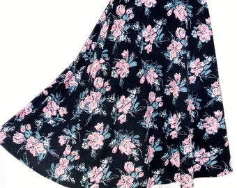 Vintage C&A Black Pink Floral Full High Waisted Midi Skirt Small