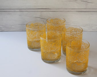 Vintage Set of 5 Yellow Raised Swirl Design Tastesetter Tumbler Glasses, Retro Drink Glass Set, Mid Century Drink Glasses