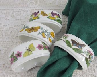 Vintsge Portmeirion Porcelain Botanical Napkin Rings Made in England 1972 Set of 4