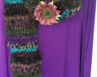 Handknit Scarf, Multicolor Scarf, Soft Knit Scarf, Warm Knit Scarf, Knitted Scarf