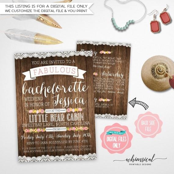 Bachelorette Party Invitation Itinerary Camping – Bachelorette Party Weekend Invitations