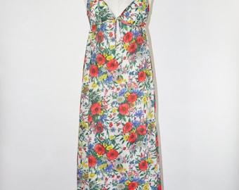 60s poppy print negligee / 1960s floral print nightie / vintage chiffon nightgown