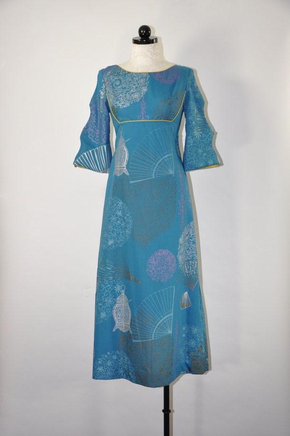 60s Teal Kimono Dress / 1960s Asian Inspired Dress / Vintage