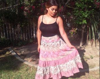 Peasant skirt,hippie skirt,pink Paisley,gold,sequin,skirt,small