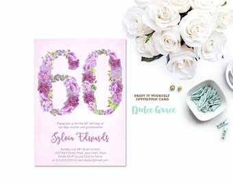 60th birthday invitations | Etsy