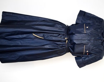 Vintage 1980's SASSON Shiny Navy Blue Belted Dress, Short Sleeves, Knee Length, Size 10