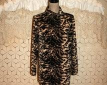 Animal Print Top Long Sleeve Tunic Velour Velvet Blouse Leopard Print Mock Turtleneck Warm Winter Clothing Medium Large Womens Clothing