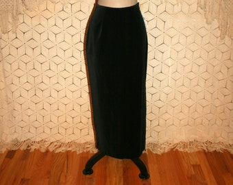 Black Velvet Maxi Skirt Long Black Skirt Pencil Skirt Small Cotton Velvet Skirt 80s 1980s Womens Skirts Size 6 Skirt Vintage Clothing