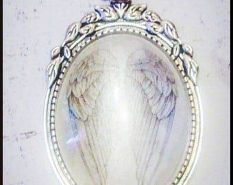 Large Oval Angel Wing Cameo Pendant