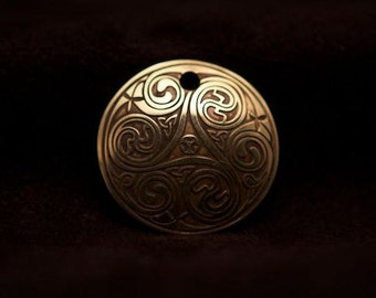 Celtic Art Spiral Pendant, Etched in Brass, from The Book of Kells, made in Scotland.