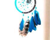 Dreamcatcher Orgonite Blue-Brown-Fish catcher-Fisherman Dreams turquoise and brown-gentle-relaxation-dreams good dreams-crafted