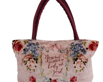 Pride and Prejudice Handbag, Gift for Mom, Jane Austen Literary Gift, Mr. Darcy Literary Bag, Bookish Gifts, Unique Gifts, Gifts for Writers