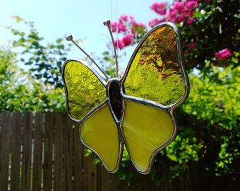 Butterfly Yellow Stained Glass Suncatcher Spring Gift for Mom Butterfly Art Home Decor Window Ornament Hanging Garden Decoration Glass Art