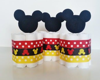 Mickey Mouse Diaper Cake, Mickey Mouse Baby Shower Decor, Baby Boy Mini Diaper Cakes, Mickey Table Centerpieces, Dessert Table Decor