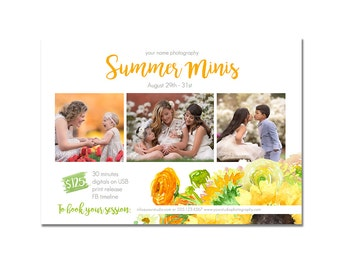 INSTANT DOWNLOAD, Mini Session Postcard, Photography Template, Flyer, Kids, 5x7, Minis, Photoshop, Elements, Easy, Summer, Sunflower, Flower