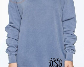 Personalized Comfort Colors Sweatshirt; Monogrammed Sweatshirt; 1566 Comfort Colors Over-sized Sweatshirt
