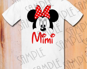 Disney Minnie Mouse ears Iron On Transfer Printable Mimi Girl Digital download Personalized Mickey Head Birthday Party shirts Disney Trip
