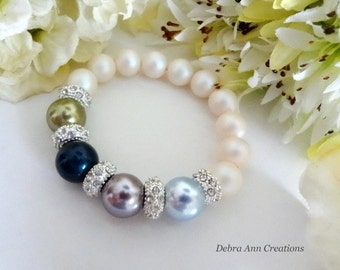 Mothers Birthstone Bracelet Swarovski Pearl Mother Bracelet Grandma Bracelet Birthstone Jewelry Mothers Day Birthday Gift For Mom Nana Gift