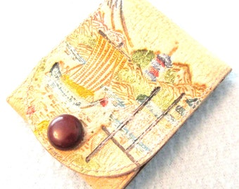 FREE POST - Vintage Collectible Match Book Holder, Tooled Leather, Japanese Leather, Oriental Scene, Mount Fuji, Colorful Holder, Asian