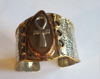 Multi-Metal Men's Ancient Egyptian Ankh Bracelet