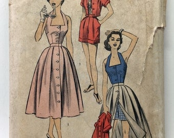 Advance 6394 Vintage 1950s Sewing Pattern: Summer Separates (Halter, Shorts, Skirt and Jacket), Size 12 (30-25-33)