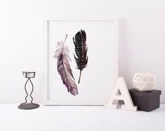 Feather Print » Tribal Wall Art Print » 4x6 5x7 8x10 11x14 Print » Feather Wall Art »  Tribal Printable » Watercolor Print » Digital Print
