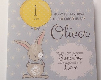 Cute Personalised 1st Birthday Card Son  Grandson, Nephew, 2nd 3rd 4th 5th 6th Blue With Bunny