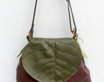 True Be Leaf (Cottonwood): Leather handbag with leaf lid, whimsical, beautiful.