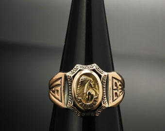 1933 Native American Chief Gold Gilded Sterling Silver Ring Size 4.5 Vintage Calumet Worlds Fair Chicago
