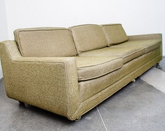mid century modern sofa couch kroehler k48 avocado light green vintage retro tweed casters mcm free