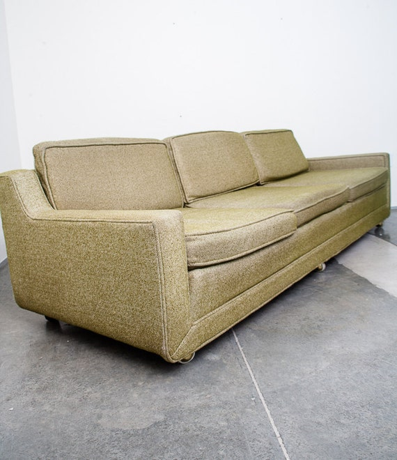 Mid Century Modern Sofa Couch Kroehler k48 Avocado  light Green Vintage Retro Tweed Casters McM FREE SHIPPING