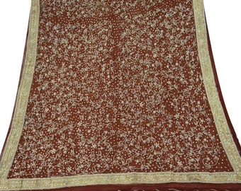 Indian Traditional Vintage Dupatta Long Indian Chiffon Silk Embroidered Deco Craft Indian Clothing Maroon Wrap Long Stole DPC1142