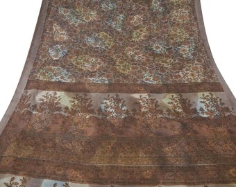 Vintage Brown Dress Pure Silk Fabric Recycle Saree Clothing Women Wrap Floral Printed Decorative Fabric 5Yard PS38940