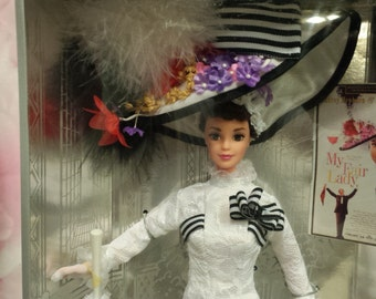 NRFB Barbie as Eliza Doolittle in My Fair Lady Ascot Lace gown box Audrey Hepburn Hollywood Legend Collection/Collector Ed ~ White Dress