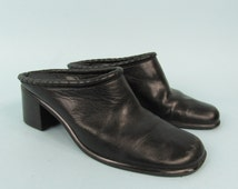 90s Leather Backless Slip On Shoes Size 8