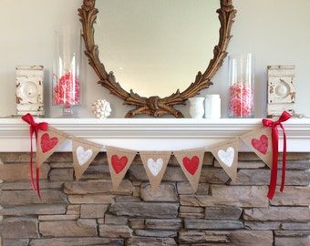 Valentines Day Burlap Banner, Valentines Day Decor, Valentines Day Painted Heart Banner, Valentines Day Banner, Valentines Day Photo Prop