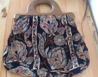 Tapestry handbag with wooden handles by Victoria U.S.A.
