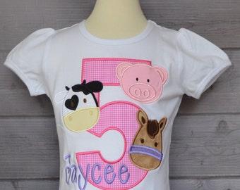 Personalized Birthday Farm Horse Cow Pig Applique Shirt or Onesie Girl or Boy