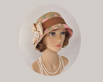 Gorgeous floral cloche for your next Gatsby party, 1920s cloche hat, flapper cloche, Downton Abbey party hat, high tea hat, Charleston hat