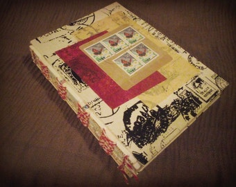 Black + White + Red All Over: Postage/Travel, Stamp Collage journal