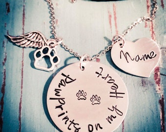 Pet Memorial Jewelry - Personalized Pet Memorial Necklace - Loss of a Pet - Paw prints on my Heart