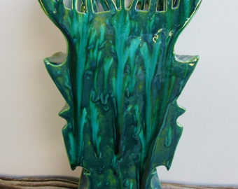 Green and Turquoise Ceramic Vase