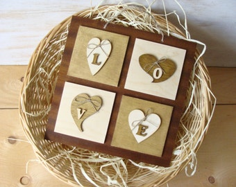 Hearts Wooden Hang Decor, Handcrafted Love Wood Decor, Rustic Wood Art, Heart Wall Art, Countryside Home Decor