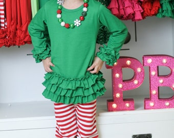 SALE!!** Ruffle Legging Pants Icing Style Peppermint and White