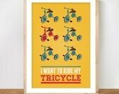 Retro tricycle toys A4 print, Mid century Modern Poster, Nursery Art, Home Décor in primary colours
