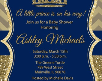prince gold blue glitter royal baby shower birthday party invitation
