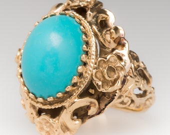 Vintage Turquoise Cabochon Floral Carved 14K Yellow Gold Ring WMS11015