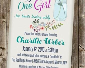 Baby Shower Invitation: One Boy One Girl- Twins- Vintage mason jar